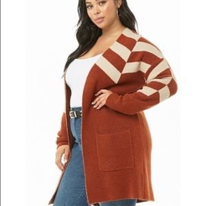 Forever 21 Sweaters - Plus sized striped open front cardigan